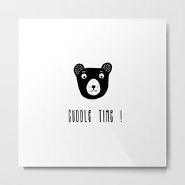 Cuddle time bear black and white illustration Metal Print