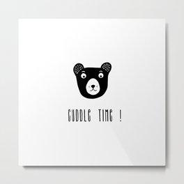 Cuddle time bear black and white illustration Metal Print