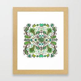 Chocolate Mint Paisley Framed Art Print