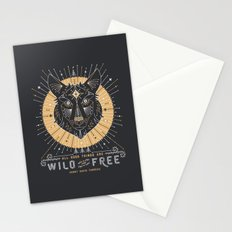 Wild & Free Wolf – Gold & Grey Stationery Cards