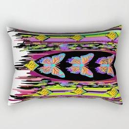 Butterfly Garden Western Style Black Fringed Shawl Rectangular Pillow