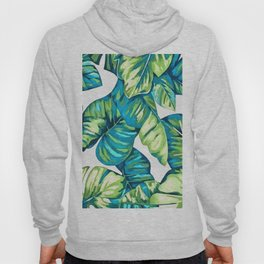 Colorful Tropical Leaves Of  Monstera and Banana Hoody