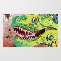 sci fi Area & Throw Rugs featuring Sci-fi Dinosaur. by Rachel Alderson