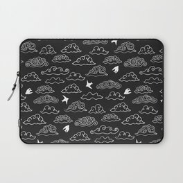Black Doodle clouds and swallows. Cloudscape pattern with birds. Laptop Sleeve