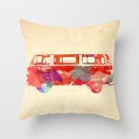 vw Throw Pillows featuring VW Van  by Stacia Elizabeth