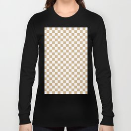 White and Tan Brown Checkerboard Long Sleeve T-shirt