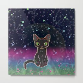 Black Cat Glow (Outer Space) Metal Print