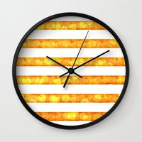 duvet cover Wall Clocks featuring Golden Glitter Stripes Duvet Cover by Corbin Henry