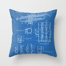 Selmer Trumpet Patent - Trumpet Art - Blueprint Throw Pillow