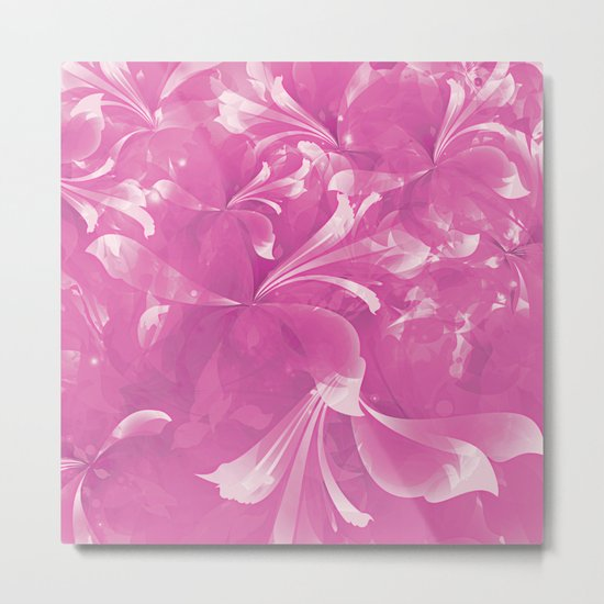 Stylized flowers in pink Metal Print