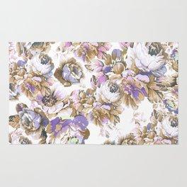 Bohemian vintage rustic brown lavender floral Rug