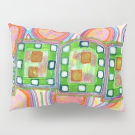Green Band over Red Cells Pillow Sham
