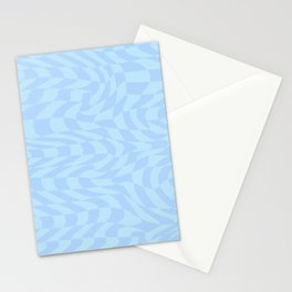 Psychedelic Warped Wavy Checkerboard in Light Pastel Blue Stationery Cards