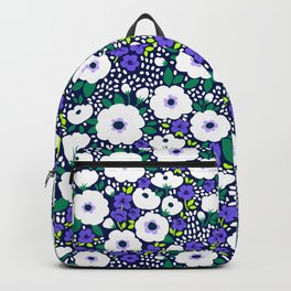 27 Ditsy floral pattern. Dark blue background. Blue and white flowers. Backpack