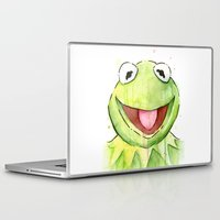 kermit Laptop & iPad Skins featuring Kermit Portrait by Olechka