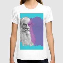 Leo Tolstoy portrait blue and purple T-shirt