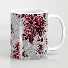 Vintage Roses and Spiders on Lace Halloweeen Watercolor Coffee Mug