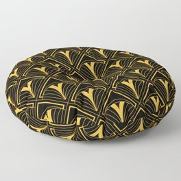 'A Sophisticated Soiree' Gold Art Deco Ornate Pattern Floor Pillow
