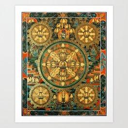 Buddhist Mandala Five Circles 1  Art Print
