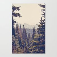 vintage Canvas Prints featuring Mountains through the Trees by Kurt Rahn