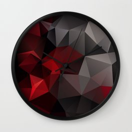 Polygon red black triangles . Wall Clock