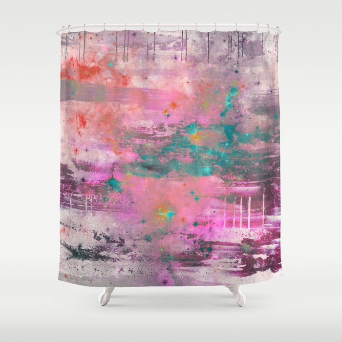 Abstract Pink Purple Red Blue Black And White Painting Shower Curtain By Printpix