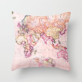 Vintage Map Pattern Throw Pillow