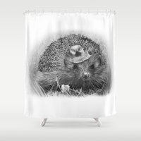 hedgehog Shower Curtains featuring Hedgehog by MARIA BOZINA - PRINT
