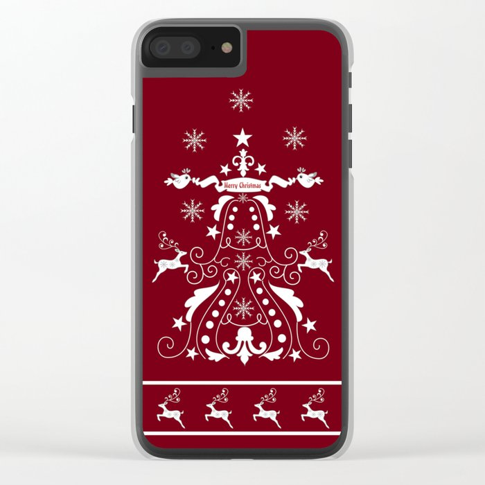 Retro damask christmas tree with reindeer Clear iPhone Case