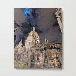 Moonlight over Sacre Coeur Metal Print