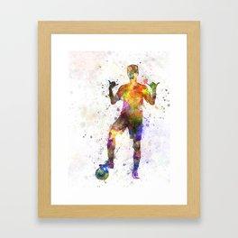 soccer football player young man saluting Framed Art Print