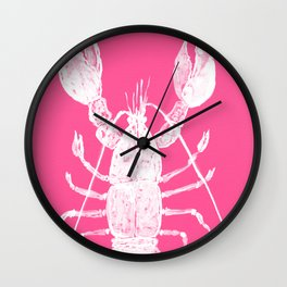 Pink lobster, Red Lobster  watercolor painting, sea animal art, kitchen art Wall Clock