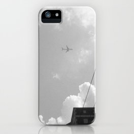 Leaving On A Jet Plane ~ black and white iPhone Case