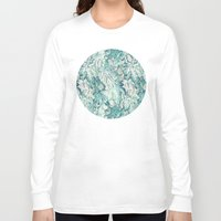 fig Long Sleeve T-shirts featuring Fig Leaf Fancy - a pattern in teal and grey by micklyn