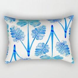 Tropical Palm Leaf Trifecta – Blue Ombré Palette Rectangular Pillow