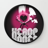 headphones Wall Clocks featuring ♥ HEADPHONES by THE SILENT P // Matthew Pfahlert