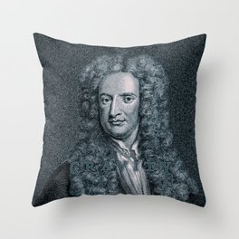 Gravity / Vintage portrait of Sir Isaac Newton Throw Pillow