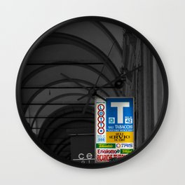 Blue Tabacchi Lotto Bologna Sign Black and White Photography Wall Clock