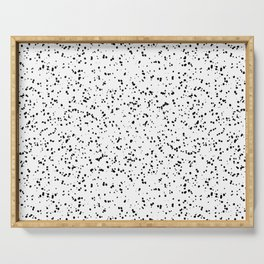 Speckles I: Double Black on White Serving Tray