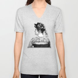 Tattooed Victorian Woman | Tattooed Woman | Vintage Tattoos | Victorian Tattoos | Victorian Gothic | Unisex V-Neck