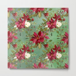 Burgundy red forest green white watercolor Christmas flowers Metal Print