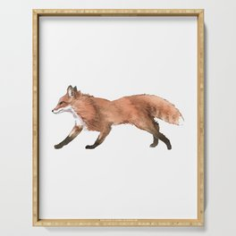 Unique Illustration Of A Fox For Animal Lovers And Owners T-shirt Design Animals Lobo Hyena Sit Serving Tray