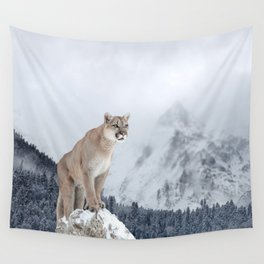 Portrait of a cougar. Wall Tapestry