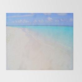beach (Maldives White Sand Beach) Throw Blanket