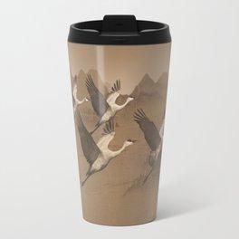 Cranes Flying Over Mongolia Travel Mug