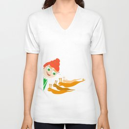 girl and snails Unisex V-Neck
