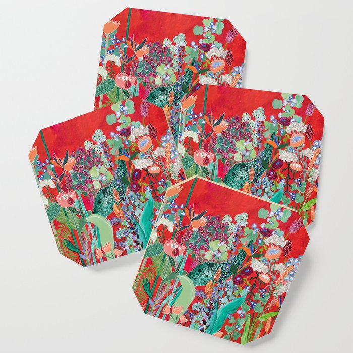 Red floral Jungle Garden Botanical featuring Proteas, Reeds, Eucalyptus, Ferns and Birds of Paradise Coaster
