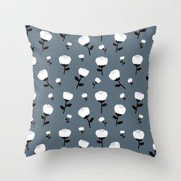 Cotton flower paper cut winter blossom stone blue Throw Pillow