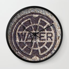 Water meter lid close up in color rustic round symbol #decor Wall Clock
