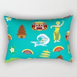 bali pattern summer tropical tosca Rectangular Pillow